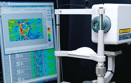 眼底血流測定をはじめ、さまざまな検査により正確な診断をめざす