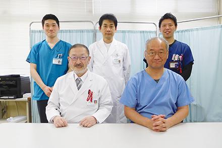 呼吸器内科のスタッフ。院内では内科としての一翼も担い、幅広く患者を受け入れている