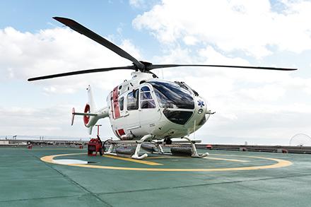 同院が誇る高度救命救急センターの医療用ヘリコプター